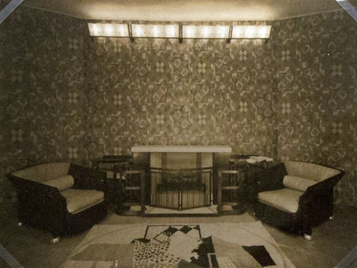 Armchairs and alabaster light fixtures with a firescreen executed by Louis Dalbet, Salon des Artistes Decorateurs, Paris, 1926 Gelatin silver print Museum of Modern Art Architecure and Design Study Center, New York
