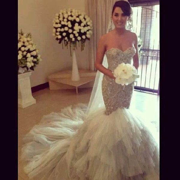 Fairy sexy 2016 crystals mermaid wedding dresses for Wedding dresses with pearls and diamonds