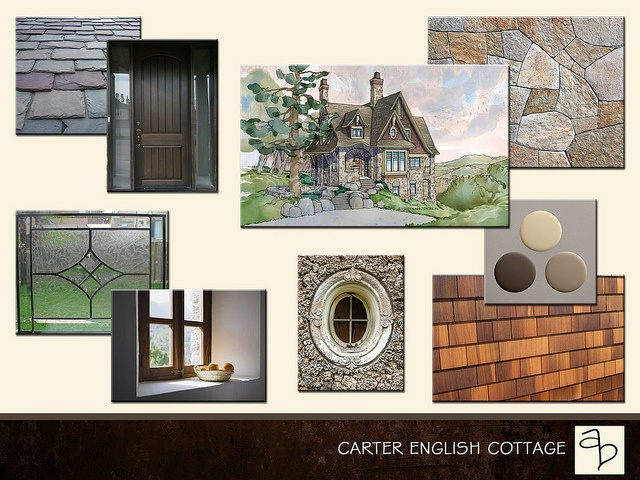 English cottage exterior sample board by Amy Barton
