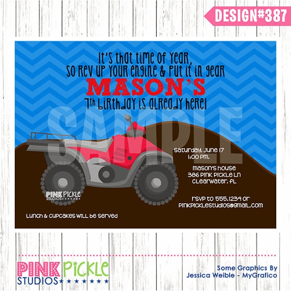 4 WHEELER Birthday Party INVITATION or Thank by PinkPickleParties, $10.00