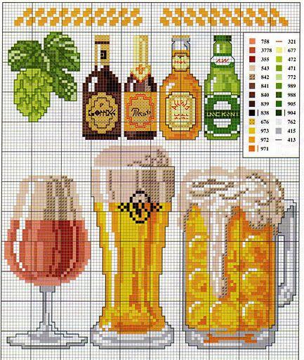 cuisine - kitchen - bierre - point de croix - cross stitch - Blog : http://broderiemimie44.canalblog.com/