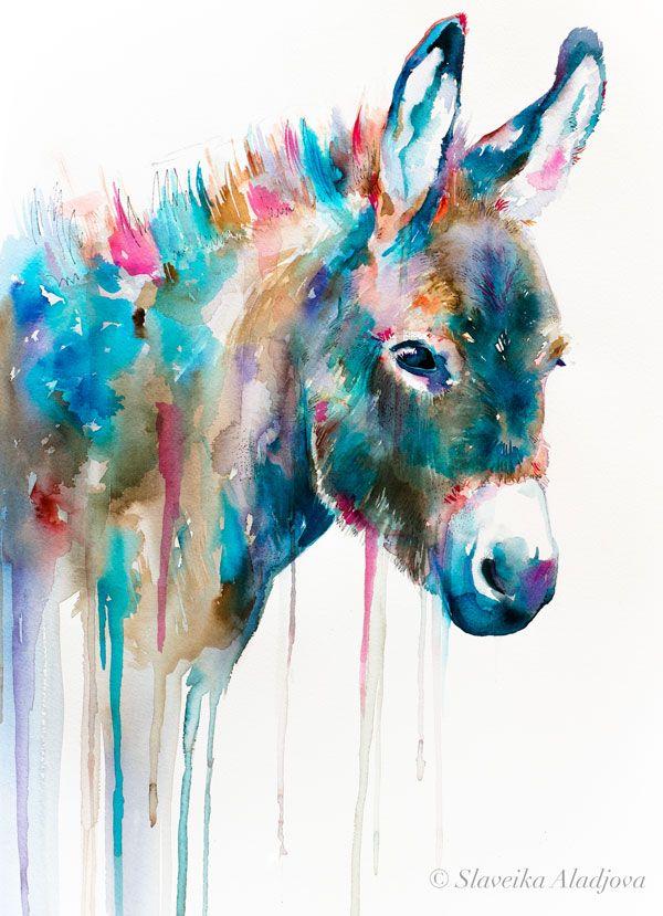 Donkey Watercolor Painting Print By Slaveika Aladjova Animal Art