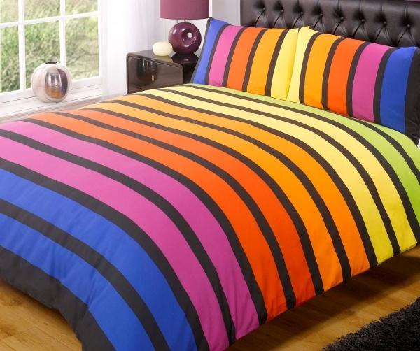 Soho Multi Stripe Duvet Cover Set from Yorkshire Linen: Multi Stripes,  Comforters, Quilt, Duvet Covers Sets,  Puff, Stripes Duvet, Soho Multi, Beds Linens, Multicoloured Stripes