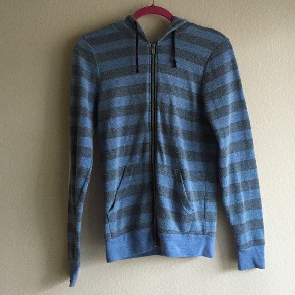 Striped blue/gray zip up hoodie Blue and gray striped zip up hoodie. Originally from Nordstrom. Black hoodie strings. Worn a handful of times, in good condition! Tops Sweatshirts & Hoodies