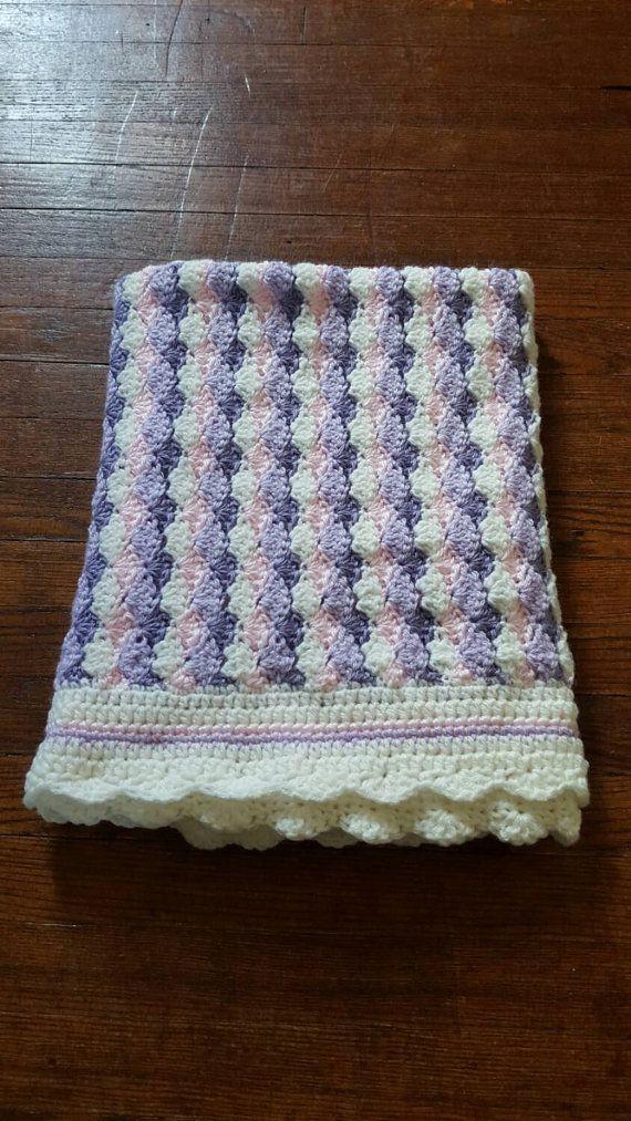 Ganchillo puntada concha manta rosa blanco púrpura regalo