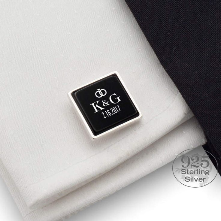 Wedding cufflinks Date and Initial Gift for groom on