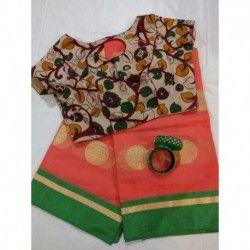 Kota saree with kalamkari ready wear blouse and jewel combo