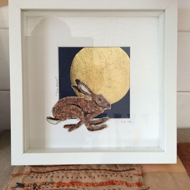 Hare and full moon. Irish wildlife series. www.violetshirran.com