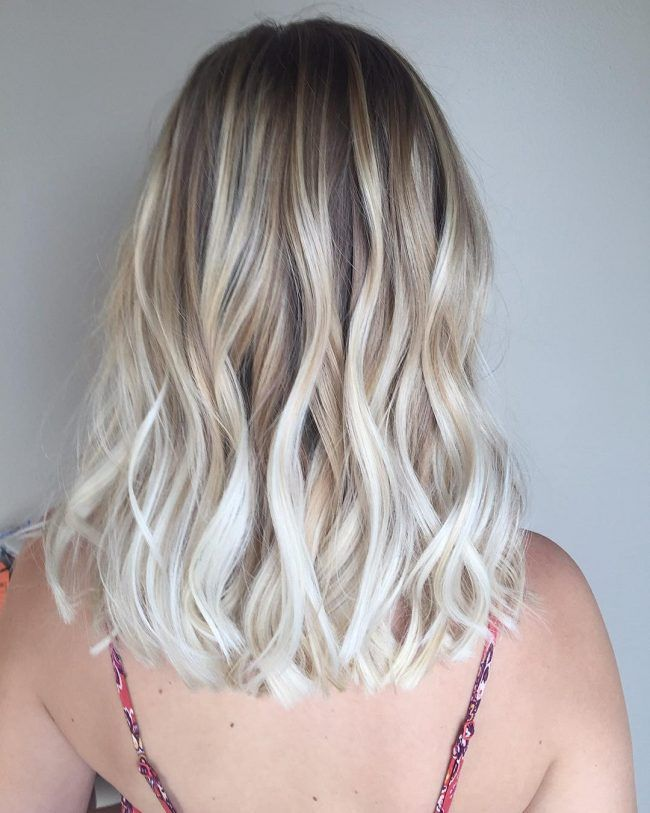 Textured White Blonde Balayage #BlondeHairstyles