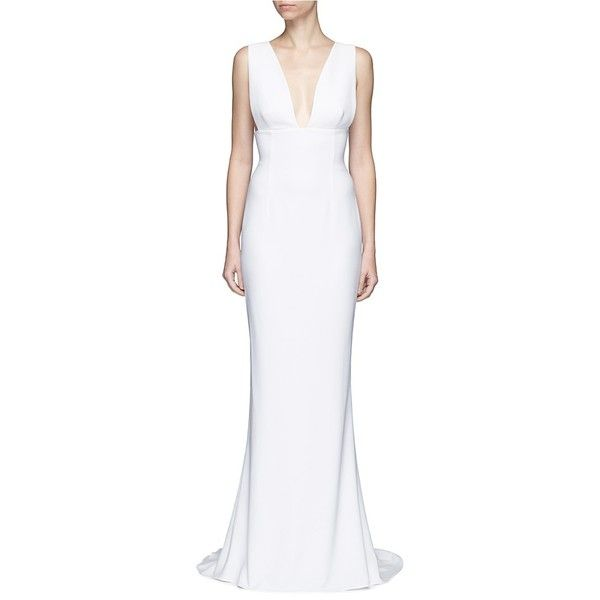 Stella McCartney Plunge V-neck stretch cady gown ($2,965) ❤ liked on Polyvore featuring dresses, gowns, white, white evening dresses, white floor length dress, v neck dress, white ball gowns and white evening gowns