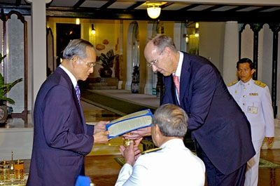 Dr. Francis Gurry, Director-General of WIPO (World Intellectual Property Organization), was granted an audience with His Majesty the King at Piam Suka Royal Residence, Klai Kangwon Palace, Hua Hin District, Prachuap Khiri Khan Province, Thailand.