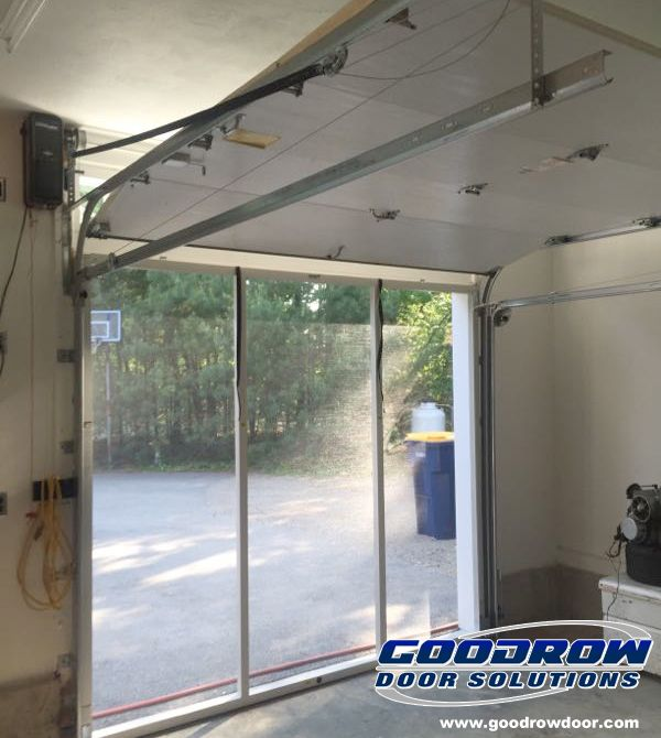 this inside view of a retractable garage door screen by goodrow