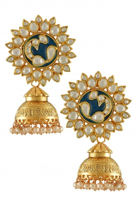 Silver Gold Plated Crystal Pearl Green Peacock Jhumkis