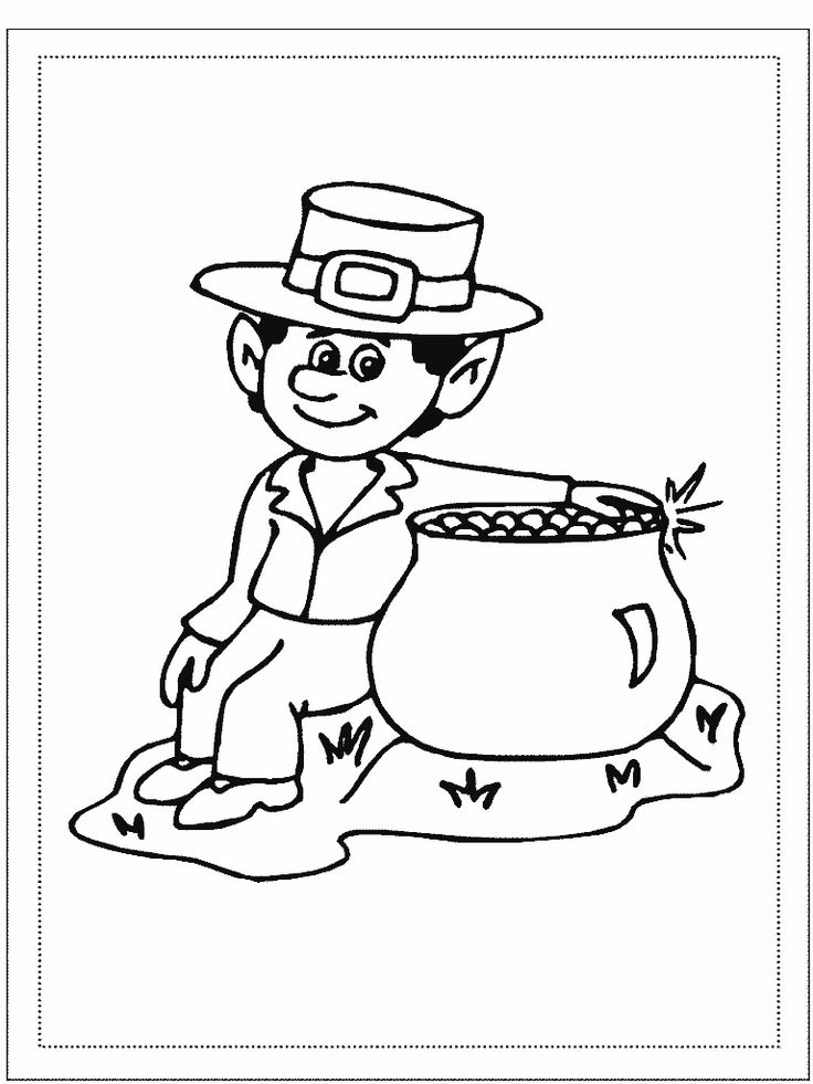Various coloring pages featuring leprechauns. St