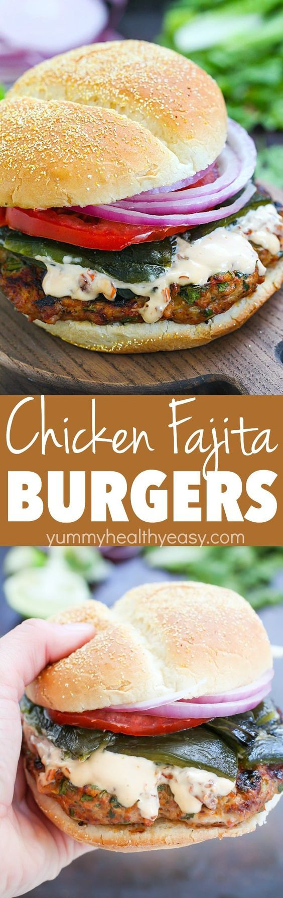 """Flavorful Chicken Fajita Burger with Roasted Peppers and Chipotle Mayonnaise Recipe via Yummy Healthy Easy """"My very favorite Burger Recipe! It contains all your favorite fajita flavors rolled into a burger! Flavorful Chicken Fajita Burger with Roasted Peppers and Chipotle Mayonnaise will be a dinner win!"""" #burgers #gourmetburgers #burgerrecipes #cookouts #grilling #barbecue #hamburgers #fathersday #fathersdayfood #bbq #partyfood #tailgating #superbowlfood #superbowl #summerfood #easylunches…"""