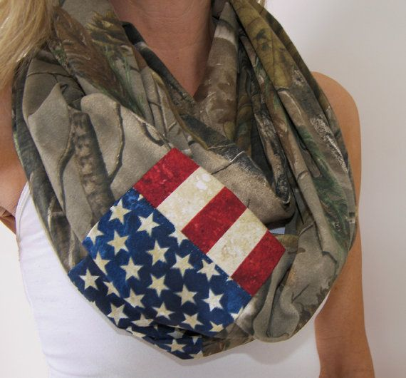 Realtree Camo Infinity Scarf / American Flag Camo Scarf by shayNme
