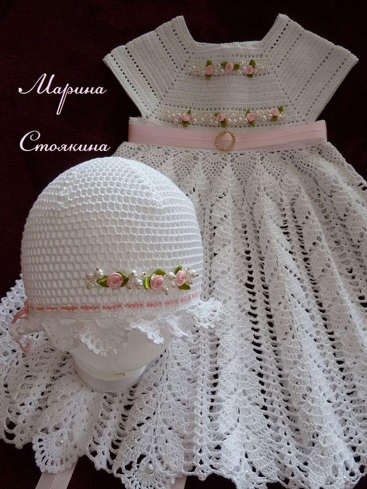 Moderno Patrón De Vestido De Crochet Libre Recién Nacido Viñeta ...