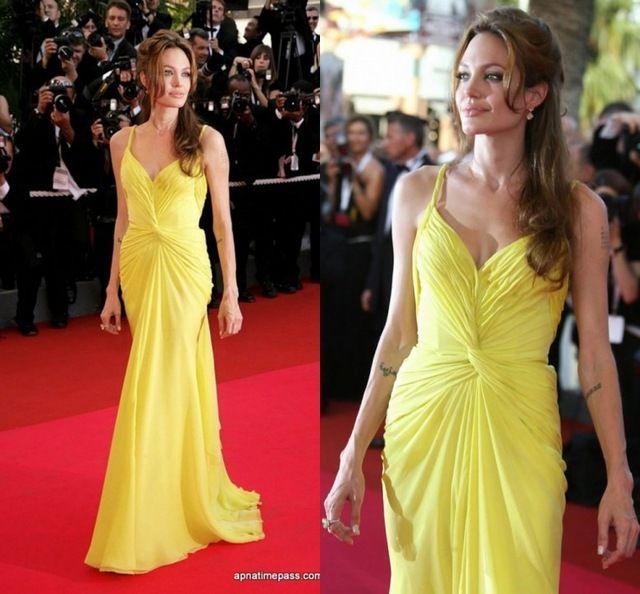 Анджелина Джоли Желтое платье из шифона