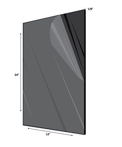 AdirOffice Acrylic Plexiglass Sheet - Durable, Water Resistant & Weatherproof - Multipurpose & Ideal For Countless Uses 12''x24'' 1/8'' thick, Black  THE BEST ALTERNATIVE TO GLASS: This acrylic sheet is safe, practical, durable and easy to use! Moreover, it will be shipped to you with a protective film cover, assuring you of its excellent condition. Glass panes are impressive. However, they are easily breakable and they may crack over time, which makes them dangerous and not very conve...