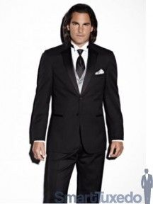 """Jean Yves Tuxedo """"Essentials"""" - 100% Wool 2 Button """"Fitted"""" Tuxedo with Satin Notch Lapel from Smart Tuxedo"""