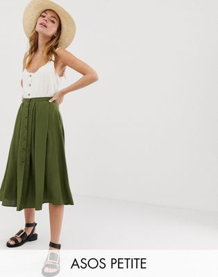 85cb5070f5f DESIGN Petite Button Front Floaty Midi Skirt in 2019