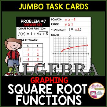 Graphing Square Root Functions given an EquationUse these 12 jumbo task cards as independent practice or guided instruction for graphing square root functions in Algebra 2. Students will graph the square root function by creating a table of values and will identify the domain and range and y-intercept of the square root function.