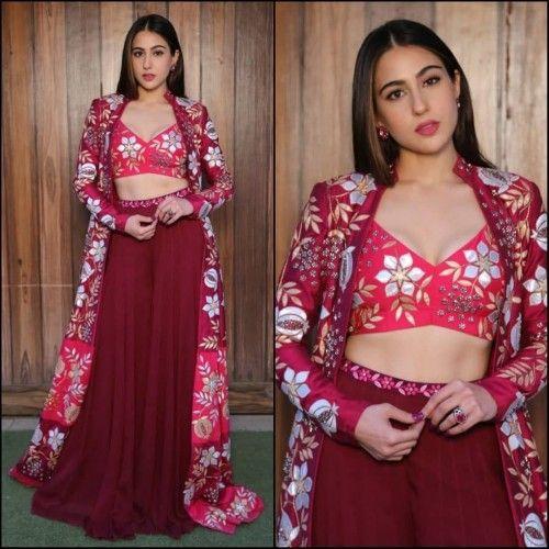 762aa45b723 Sara ali khan stylist indowestern lehenga with shrug in 2019 ...