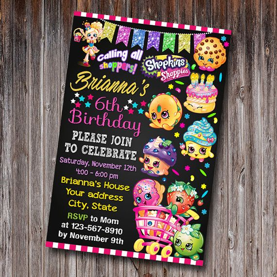 Shopkins Invitation Shopkins Birthday by FunCardInvitation on Etsy