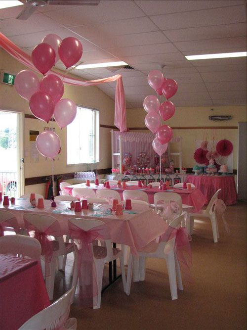 Room set up for pink baby shower baby shower decorations for Baby shower hall decoration