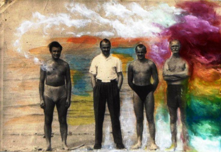 #AnitaRozentale, Four men @Artfetch #collage