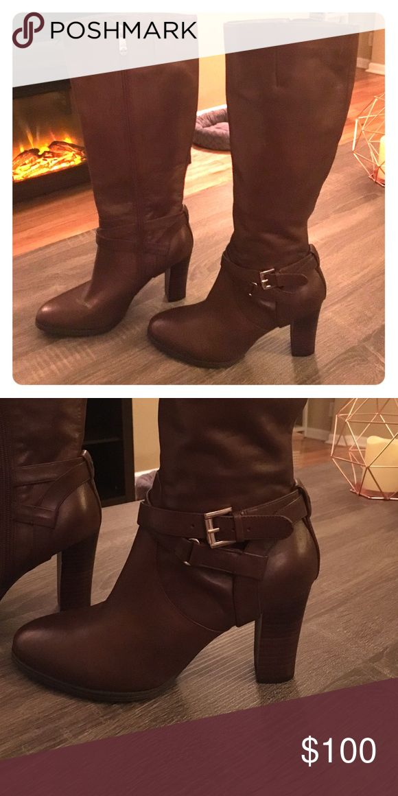 8.5 Tommy Hilfiger heeled boots Brown leather, never worn, Tommy Hilfiger, size 8.5 heel boots Tommy Hilfiger Shoes Heeled Boots