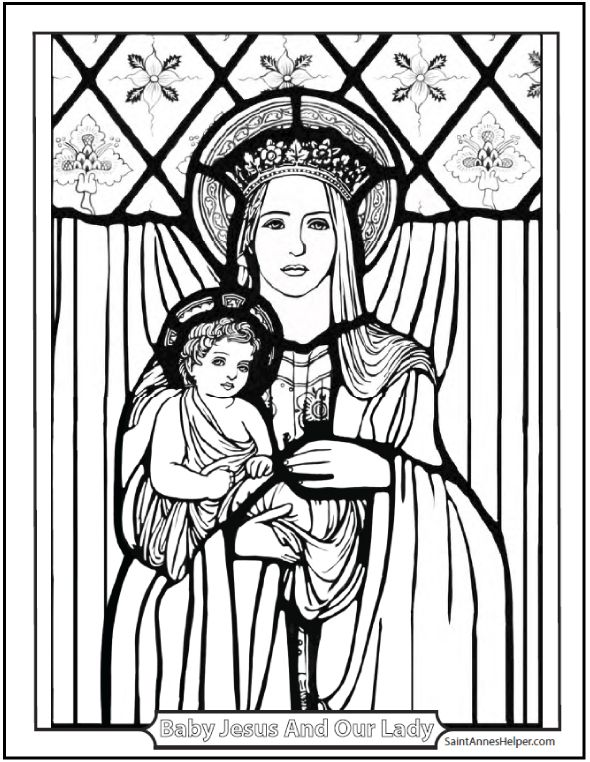 Christmas Coloring Pages: Beautiful picture of Jesus and Mary, Mother and Child.