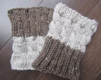2 IN 1 - Hand Knitted Boot Cuffs - 2 COLORS, 2 PATTERNS - No Seam Line