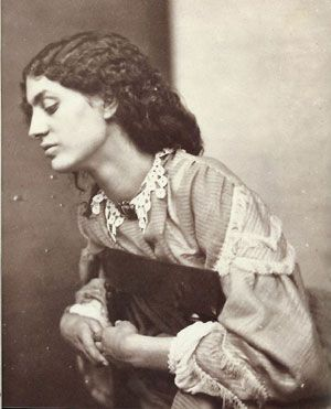 Photo of Jane Burden Morris, 1858.  Posed by Dante Gabriel Rossetti Jane Morris was an English artists' model who embodied the Pre-Raphaelite ideal of beauty. She was a model and muse to the artists William Morris, whom she married, and Dante Gabriel Rossetti