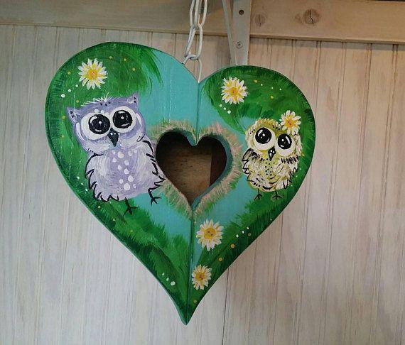 Heart Birdhouse ~ Outdoor Redwood ~ Owl Yard Art ~ Unique Garden Decor ~ Bird  House For Sale ~ Summer Outdoors ~ Fun Owl Gifts