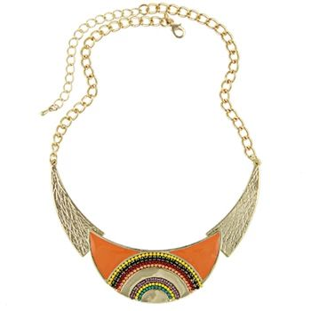 Christmas New Fashion 2015 Moon Collars Vintage Ethnic Colorful Enameling Beads Statement Choker Necklaces Women Retro Jewelry