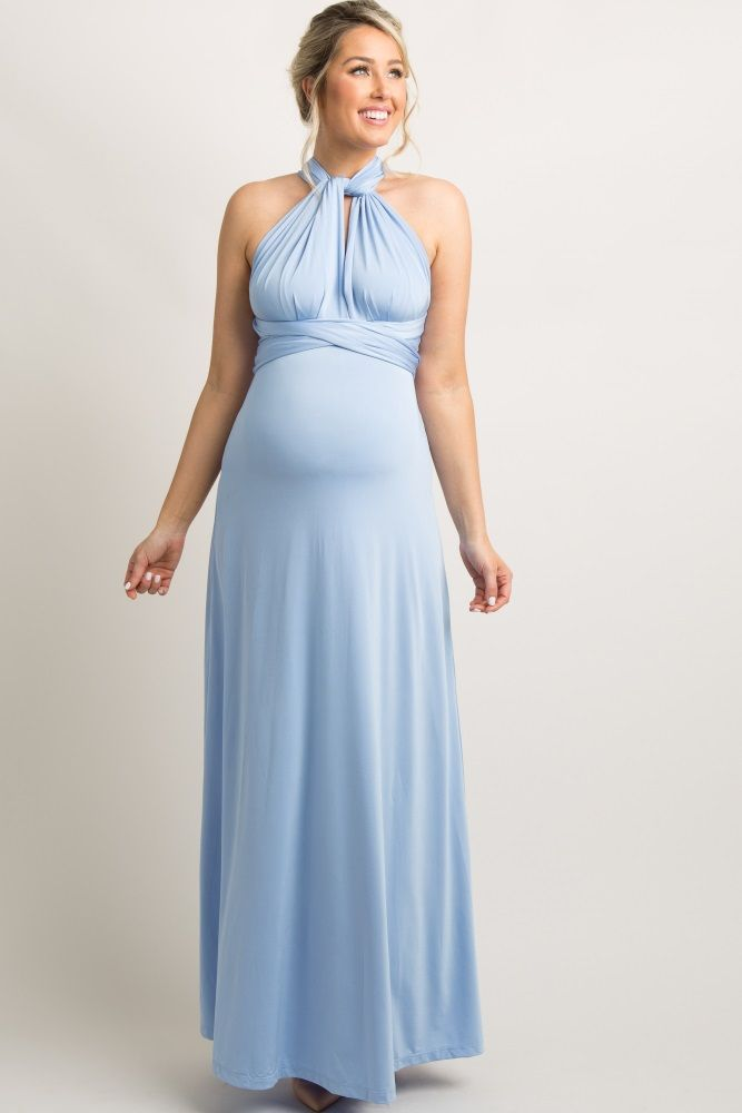 fff0859b602df Light Blue Solid Pleated Convertible Maternity Maxi Dress ...