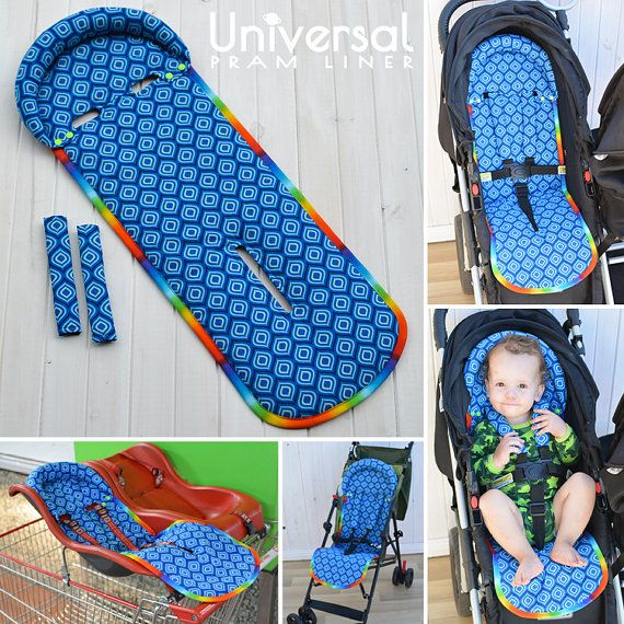Universal Fit Seat Liner Pattern PRAM STROLLER with matching shoulder strap covers - optional padded head rest - easy on/off - reversible