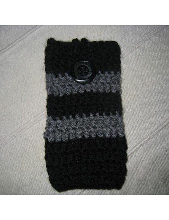 Πλεχτή Θήκη Πουγκί για iPhone 5 / 5s / 5c Galaxy S3 mini / S4 mini - Μαύρο/Γκρι