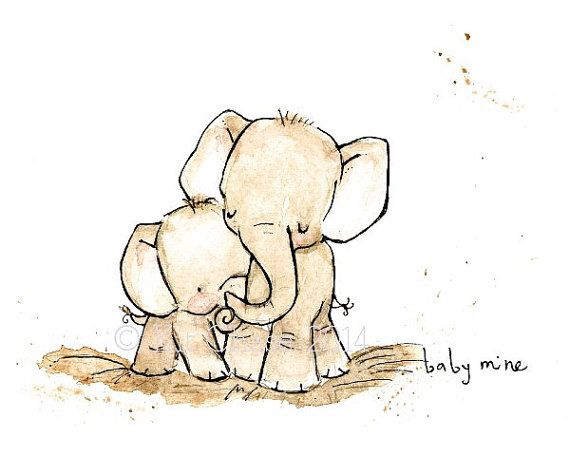 Nursery Art  BABY MINE ELEPHANT  Art Print by trafalgarssquare, $10.00