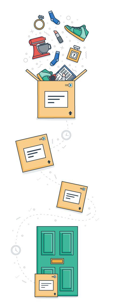 Online Shopping Delivery Journey Door Courier Flat Logo Vector Design Graphic Design Illustration Illustrator