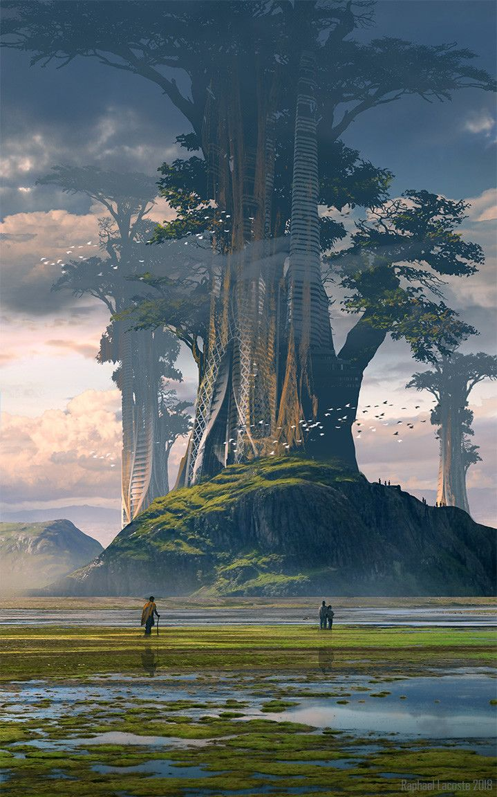Tree Worlds, Raphael Lacoste on ArtStation at https://www.artstation.com/artwork/Kb1bB