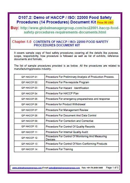 ISO 22000 Procedures (14 FSMS Procedures) Document Kit