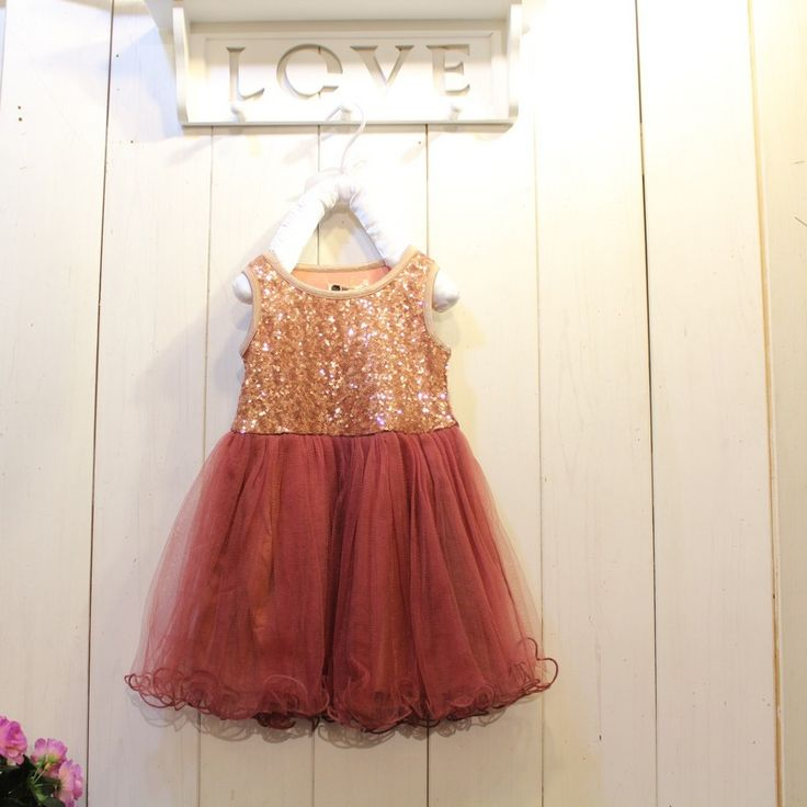 Sequined bronze & maroon tulle dress. Pretty colors for Fall!
