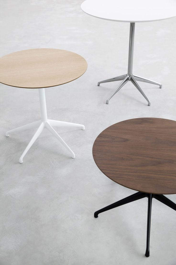STUA Marea table, three frame colors, three different heights and three wooden tops.