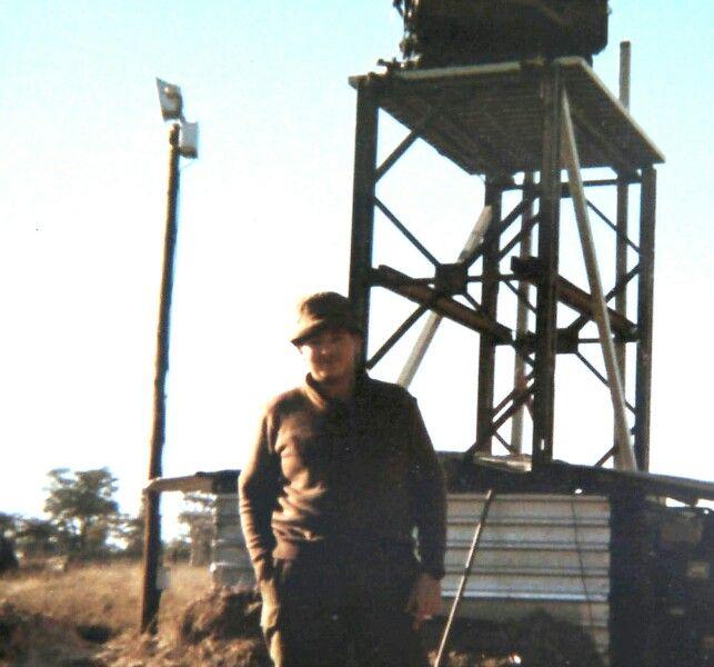 Cymbeline Mortar locating radar set on tower at Katima 1978.