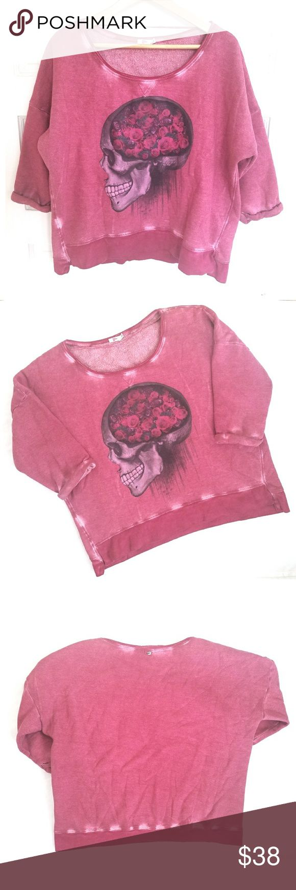 Roses Skull Boxy Sweatshirt Reddish pink sweatshirt by Pool. Features skull on front with roses for brains and white distressing. 3/4 sleeves sewn.  Very thick true sweatshirt material! Size large (grande, made in Brazil), but easily fits an oversized medium or even a small. (Listing as Med-Large.) This is one of my favorite pieces. 🖤 Pool Tops Sweatshirts & Hoodies