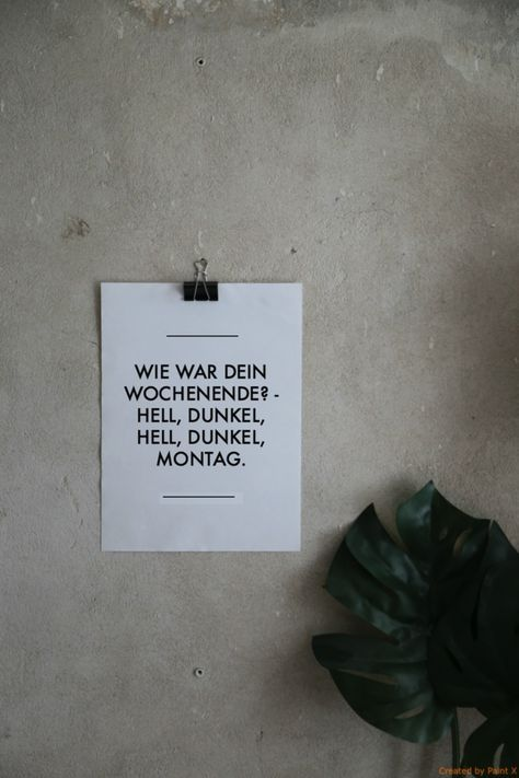 Typo #Poster mit #Spruch Wochenende / statement #print as wall decoration made by Sieben Sommersprossen via DaWanda.com