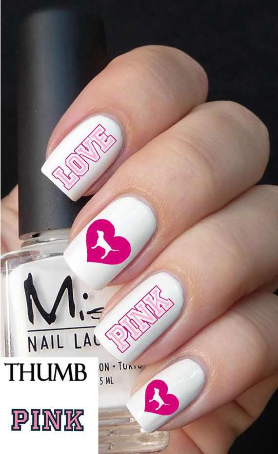 Victoria Secret Pink Decals by DesignerNails on Etsy, $3.95