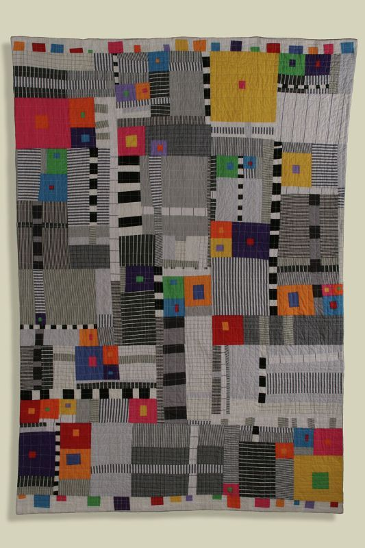 """Sarah Bearup-Neal: Figure/Ground #1, 43.5"""" X 61"""", machine pieced and quilted, commercial cottons, recycled men's shirts. 2006:"""